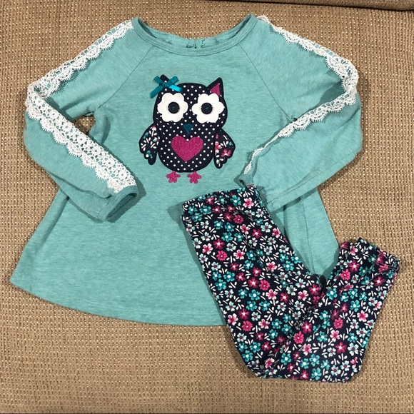 NWT Kids Headquarters Nautical Anchor Baby Girls Tunic Leggings Outfit Set